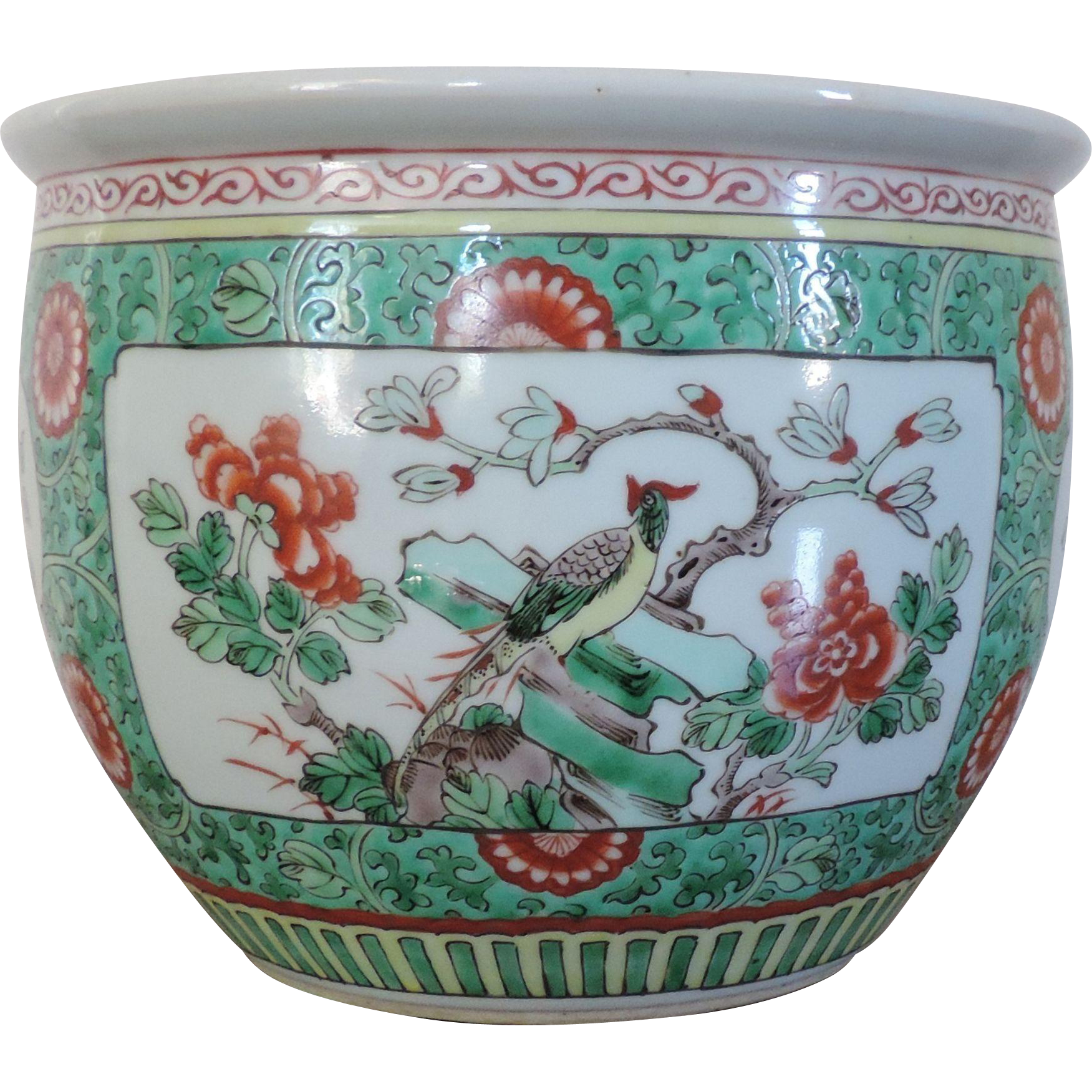 Antique 19th century chinese porcelain famille verte fish for Chinese fish bowl