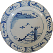 Antique 18th century Dutch Delft Charger Platter Decorated in Blue and White in the Chinese Kangxi Taste