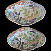 Pair Early 19th c. Coalport Imari Lozenge Shaped Porcelain Dessert Dishes Thumb Pattern