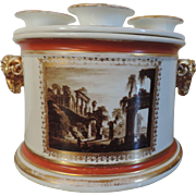 Antique Early 19th century Derby Porcelain Bough or Crocus Pot with Ram's Head Handles Painted with Ruins of Rome