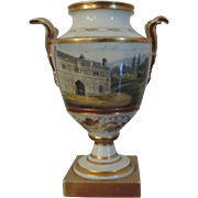 Antique Early 19th century English Worcester Porcelain Vase with Named View of Malvern Gateway c. 1800