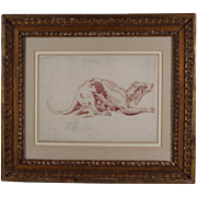 Antique 18th century Italian Drawing of a Greyhound Red Chalk on Paper in French Mat with Carved Giltwood Frame