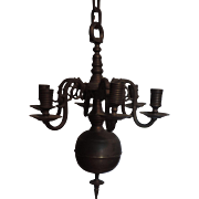 Antique 19th century Small Scale Dutch Colonial Brass Six Light Rococo Chandelier with Original Thick Chain
