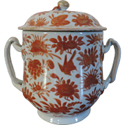 Antique Early 19th century Chinese Export Porcelain Covered Sugar Bowl or Sucrier in Rouge de Fer Sacred Bird & Butterfly Pattern