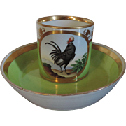 Antique Early 19th century Vienna Porcelain Coffee Can and Saucer with Hand Painted Rooster or Cockerel 1800