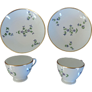 Pair Antique Early 19th century Nast Old Paris Porcelain Tea Cups and Saucers in the Sprig or Cornflower Pattern 1800 - 1810
