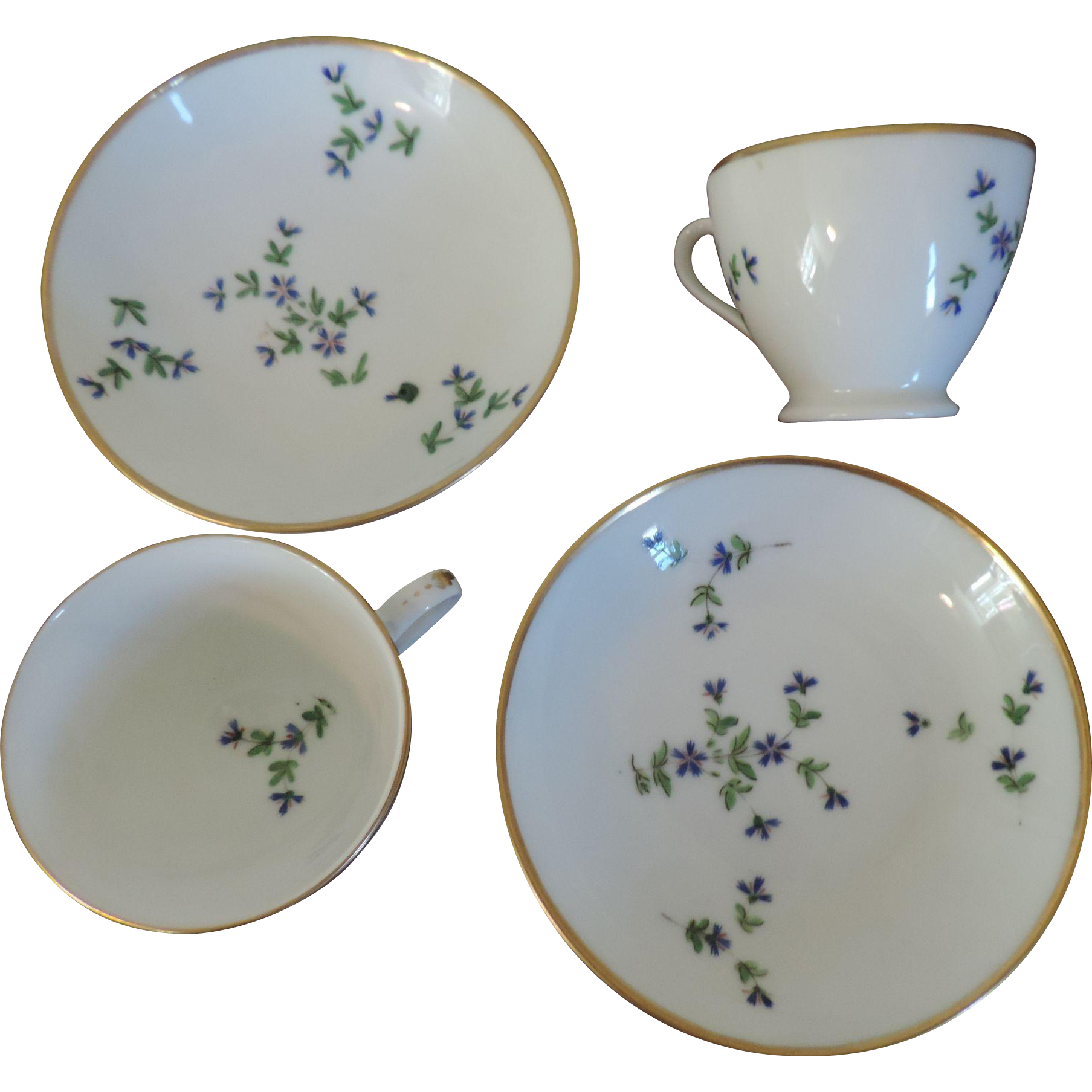 French Empire Vieux Paris Porcelain Cup Saucer Dartes: Pair Antique Early 19th Century French Empire Nast Old