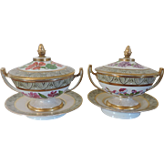 Pair Antique Early 19th century English Coalport Botanical Porcelain Tureens with Covers and Under Plates 1805
