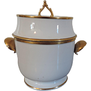 Antique Early 19th century English Coalport Porcelain Fruit Cooler in White with Gilt Highlights and Shell Form Handles