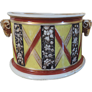 Antique Early 19th century English George III Derby Porcelain Bough Pot with Ram's Head Mask Handles 1800 - 1810