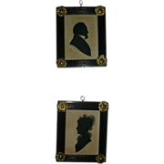 Pair 19th c. Regency Portrait Silhouettes in Original Ebonized Frames