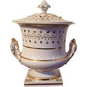Antique Early 19th century English Regency Worcester Flight Barr & Barr Porcelain Fruit Cooler in the Form of a Covered Urn 1820