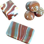 Collection 3 Antique Grand Tour 19th century Banded Agate Desk Ornaments or Paperweights