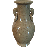 Antique 19th century Chinese Monochrome Porcelain Vase in Celadon Crackle Glaze with Elephant Ring Handles