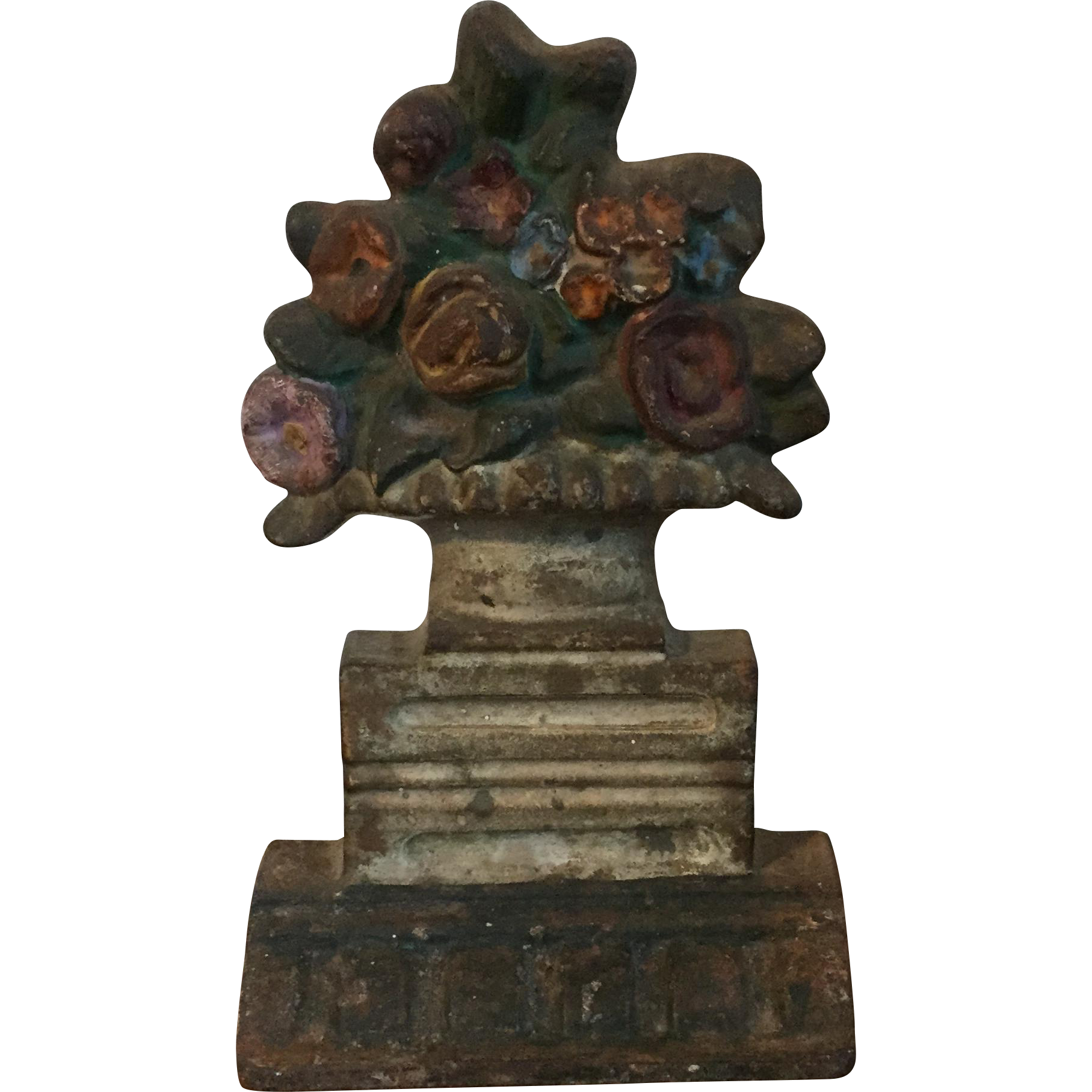 Antique 19th century American Cast Iron Door Stop in the Form of a Classical Urn with Flowers in the Greek Revival Taste