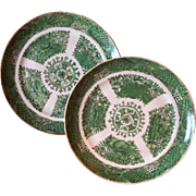 Pair Antique Early 19th century Chinese Export Porcelain Green Fitzhugh Plates c. 1800