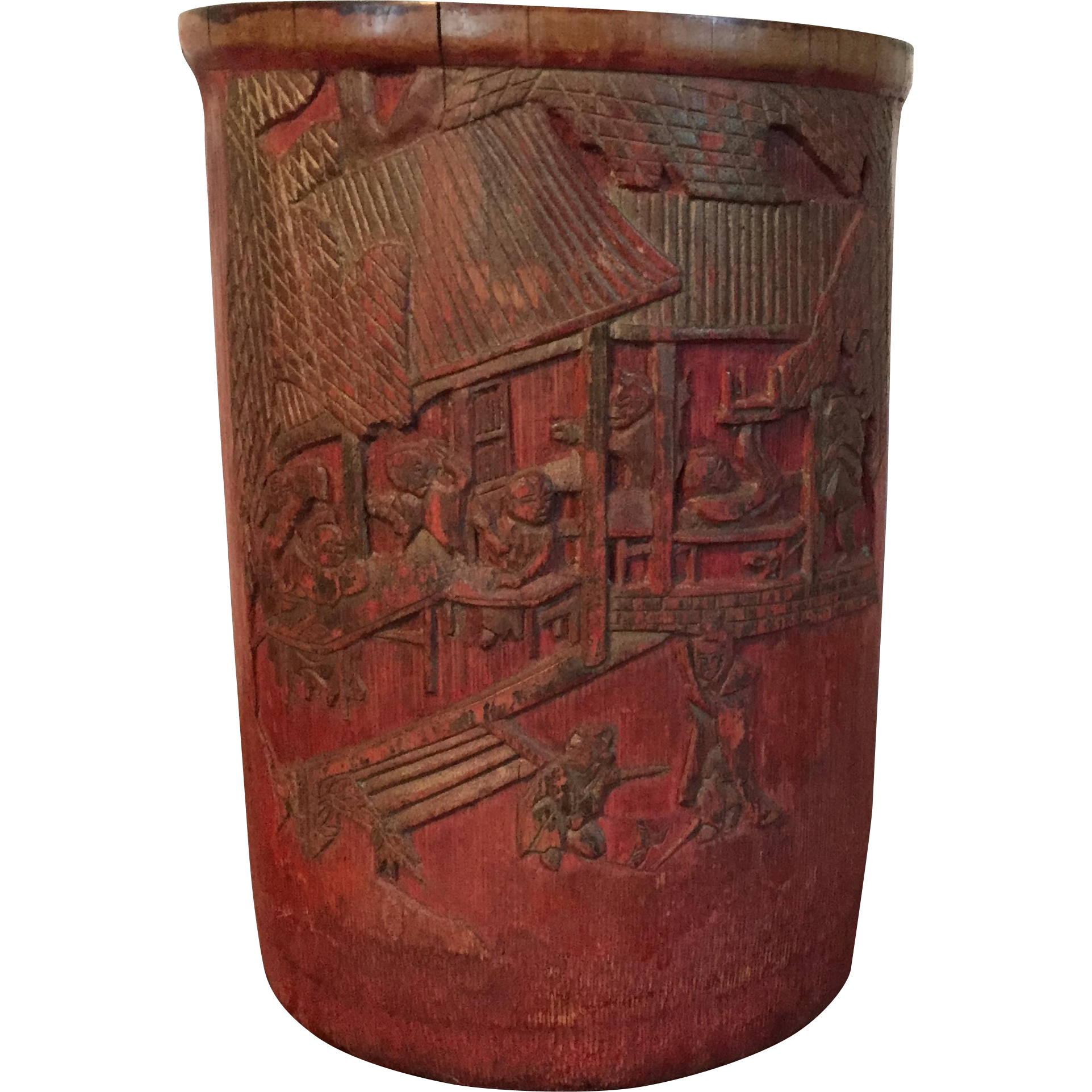 Antique 19th century chinese carved wood bamboo brush pot for Wood in chinese