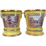 Pair Antique Early 19th century English Regency Coalport Root Pots and Stands or Cachepots in Bright Yellow Ground 1800 - 1805
