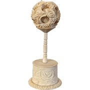 Antique 19th century Chinese Carved Bone Puzzle Ball and Stand as a Topiary Tree or Shrub in a Flower Pot