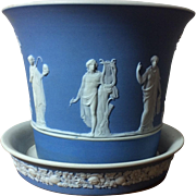 Antique 19th century English Wedgwood Jasperware Light Blue Pottery Flower Root Pot Jardiniere Cachepot and Stand in the Classical Taste