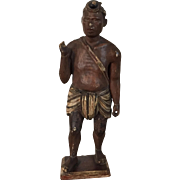 Antique 19th c. Ethnographic Tribal Carved and Paint Decorated Wood Figure of a Warrior South Pacific Islands