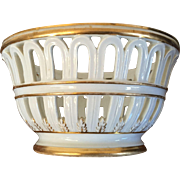 Antique Early 19th century Old Paris Porcelain Reticulated Chestnut Basket Centerpiece White & Gold c. 1810