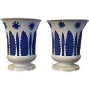 Pair Antique Early 19th century Wedgwood Jasperware Urns or Vases in the Consulate Pattern 1810
