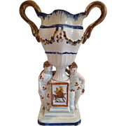 Antique 18th century English Staffordshire Pratt Ware Pearlware Figural Vase or Handled Urn Ralph Wood 1790