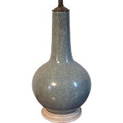 Antique 19th century Chinese Crackle Glaze Monochrome Porcelain Bottle Shaped Vase Mounted as a Table Lamp