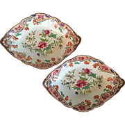 Pair Antique Early 19th century English Regency Spode Pearlware Dessert Dishes in the Chinese Taste with Famille Rose Imari Decoration 1820