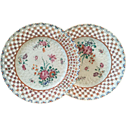 Pair Antique 18th century Chinese Export Porcelain Plates in Famille Rose Glaze with Reticulated Basketweave Border