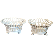 Pair Antique 19th century Empire Old Paris Porcelain Centerpiece Baskets or Corbeille