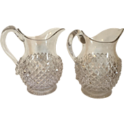 Large Pair 19th century Early American Pattern Glass EAPG Pitchers for Milk Water or Juice in the Sawtooth Pattern with Applied Handles