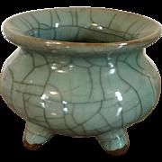 Antique 19th century Chinese Monochrome Porcelain Tripod Censer Bowl in Crackle Celadon Glaze
