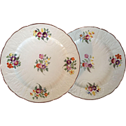 Pair Antique Early 19th century English Coalport Porcelain Relief Molded Plates with Floral Sprig Decoration
