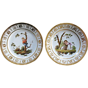 Large Pair Antique Early 19th century Empire Old Paris Porcelain Dinner Plates by Halley 1800 - 1805
