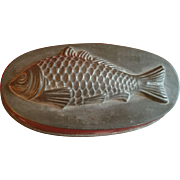 Antique 19th century Zinc Tin Oval Kitchen Mold for Fish Aspic, Jelly or Mousse in the Form of a Carp or Cod