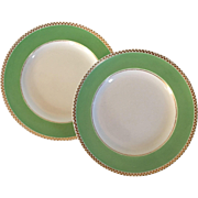 """Large Pair Antique 19th century Wedgwood Pearlware Plates for Serving or Cake with Apple Green Border and Gilding 10 3/8"""" Diameter"""