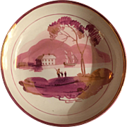 Antique English Regency 19th century Pink Sunderland Luster Lustre Pearlware Staffordshire Saucer Plate