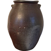 Antique Early 19th century Virginia Ovoid Shape Handled Crock Storage Jar with Applied Handles Marked 3