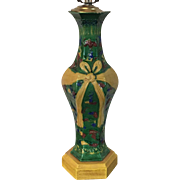Antique 18th century Chinese Porcelain Baluster Shape Vase with Bats & Bow in Famille Vert Palette as a Lamp