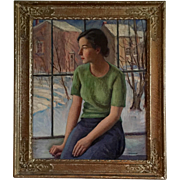 1930's Pre War Portrait of a Young Connecticut Woman & Winter Snow Scene Landscape by Harry Farlow (1882 - 1957) Oil Painting on Canvas in Original Gilt Wood Frame