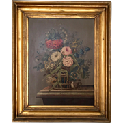 Antique 19th century Continental Oil Painting on Board of a Classical Floral Still Life with Basket and Marble Table in Original Gilt Wood Frame