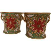 Pair Antique Early 19th century English Davenport Porcelain Bough Pot Vases with Imari Decoration