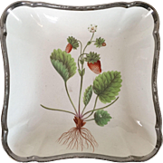 Antique Early 19th century Shorthose Creamware Pearlware Botanical Square Dish Decorated with Hand Painted Versailles Strawberry Specimen & Silver Luster Border 1810