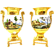 Pair Antique 19th century Empire Old Paris Porcelain Urns or Vases with Lion Handles and Hand Painted Country Landscape Scenes