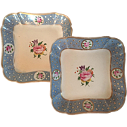 Pair Early 19th century English Coalport Porcelain Square Dessert Dishes Baby Blue with Pink Roses 1810