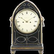 Early 19th c. English Regency Ebonized & Brass Inlaid Clock by James McCabe London 1810