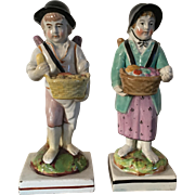 Pair Antique Early 19th century Pearlware Staffordshire Figures Pie Seller Boy & Fruit Seller Girl with Angel's Wings