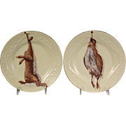 Pair Antique 19th century Limoges Porcelain Game Plates by Bawo Dotter